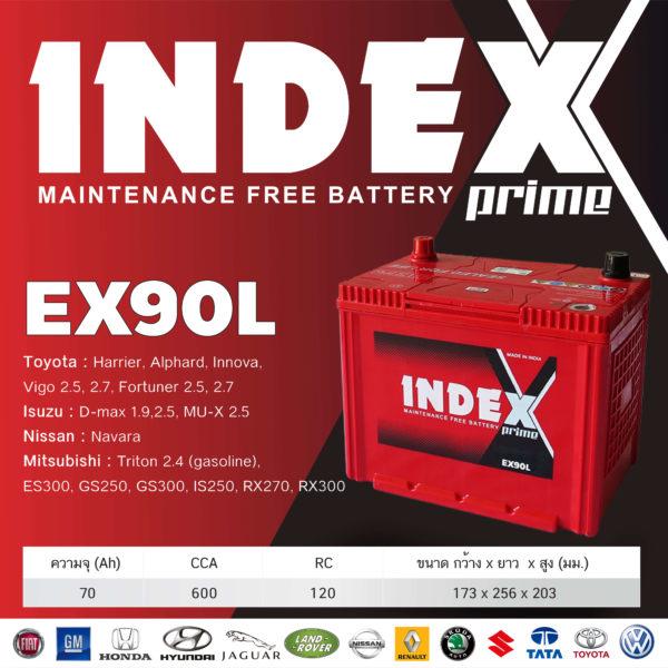 สเปคแบตเตอรี่รถยนต์ INDEX EX90L
